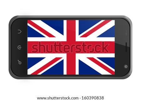 United Kingdom flag on smartphone screen isolated on white - stock photo