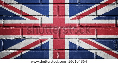 United kingdom flag on texture brick wall