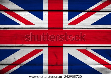 United Kingdom Flag on wood background