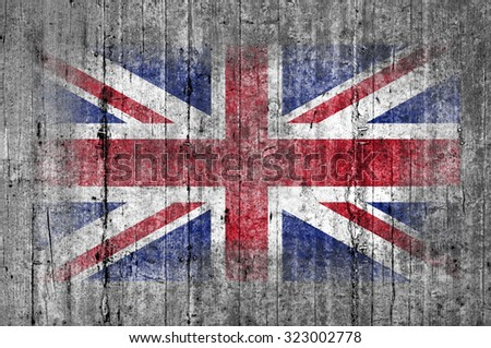 United Kingdom flag painted on background texture gray concrete - stock photo
