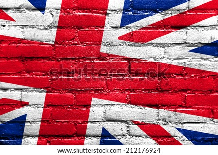 United Kingdom Flag painted on brick wall - stock photo