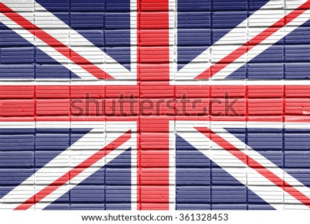 United Kingdom Flag painted on brick wall