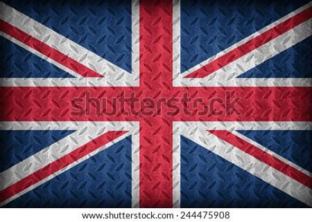 United Kingdom flag pattern on the diamond metal plate texture ,vintage style - stock photo