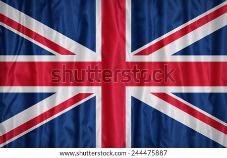 United Kingdom flag pattern on the fabric texture ,vintage style