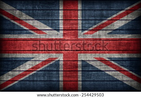 United Kingdom flag pattern on wooden board texture ,retro vintage style