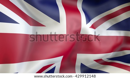 United kingdom flag waving in the wind 3d Illustration - stock photo