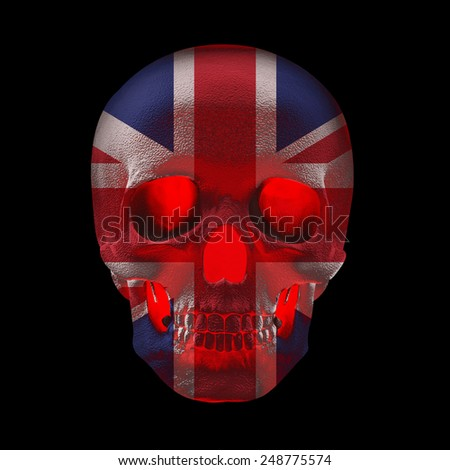 United Kingdom flag with human skull and black background - stock photo