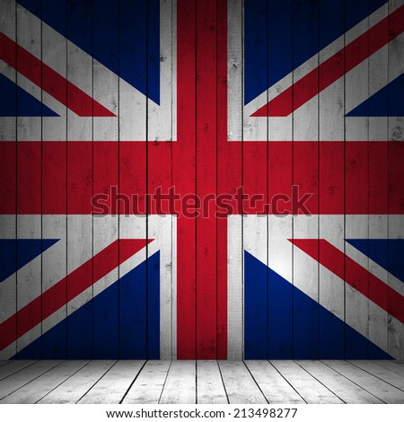 United Kingdom flag with wood background