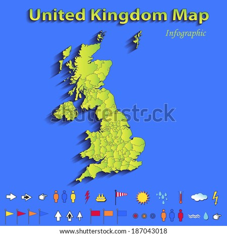 United Kingdom Great Britain England map infographic political map blue green card paper 3D vector individual states - stock photo