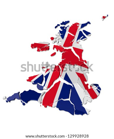United Kingdom map cracked, conceptual representation of national crisis