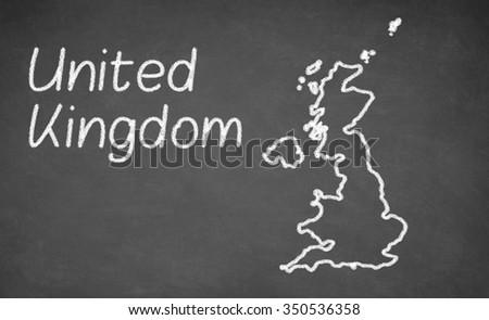 United Kingdom map drawn on chalkboard. Chalk and blackboard. - stock photo