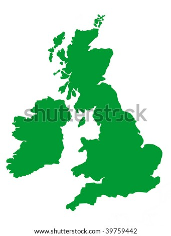 United Kingdom map isolated on white background. - stock photo