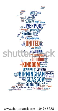 UNITED KINGDOM map words cloud of major cities with a white background - stock photo