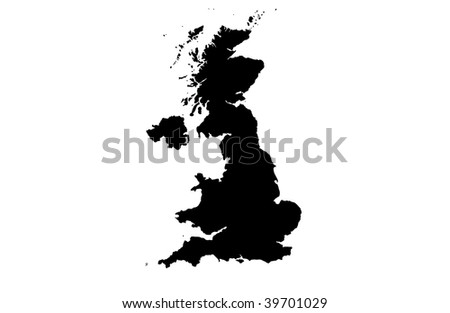 United Kingdom of Great Britain and Northern Ireland - white background - stock photo