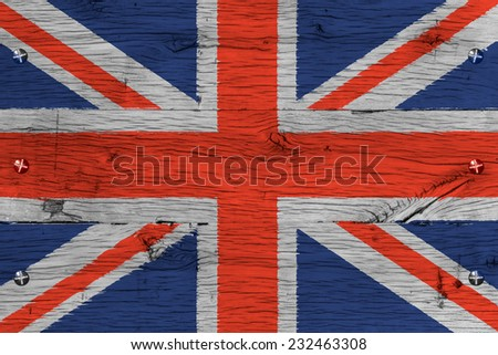 United Kingdom of Great Britain, Union Jack national flag. Painting is colorful on wood of old train carriage. Fastened by screws or bolts.