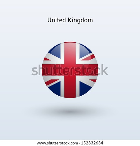 United Kingdom round flag on gray background. See also vector version. - stock photo