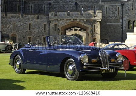 UNITED KINGDOM - SEPTEMBER 13: A classic Bristol 400 on display at the United Kingdom Concours d'elegance Classic Car Expo at Windsor Castle on September 13, 2012 in Windsor, United Kingdom. - stock photo
