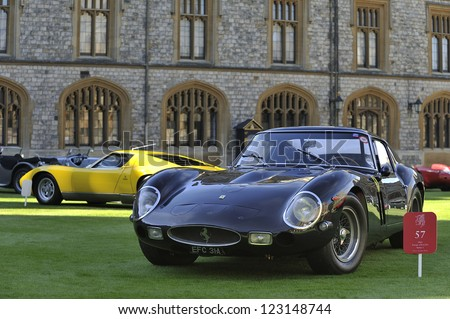 UNITED KINGDOM - SEPTEMBER 13: Ferrari on display at the United Kingdom Concours d'elegance Classic Car Expo at Windsor Castle on September 13, 2012 in Windsor, United Kingdom. - stock photo