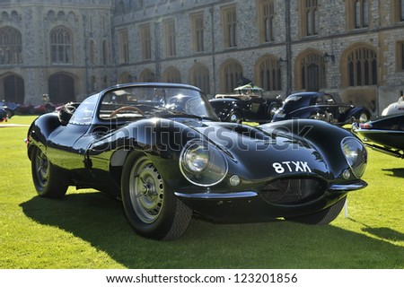 UNITED KINGDOM - SEPTEMBER 13: Jaguar on display at the United Kingdom Concours d'elegance Classic Car Expo at Windsor Castle on September 13, 2012 in Windsor, United Kingdom.