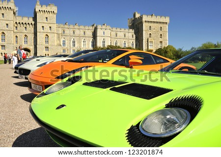 UNITED KINGDOM - SEPTEMBER 13: Supercars on display at the United Kingdom Concours d'elegance Classic Car Expo at Windsor Castle on September 13, 2012 in Windsor, United Kingdom. - stock photo