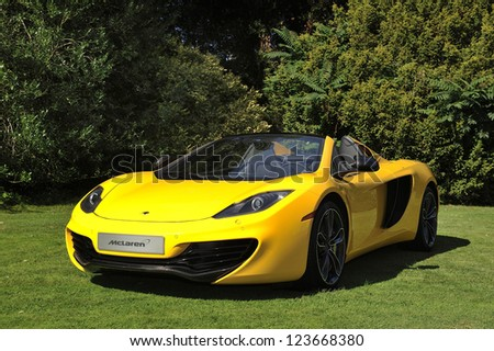 UNITED KINGDOM - SEPTEMBER 13: The McLaren MP4 Spyder on display at the United Kingdom Concours d'elegance Classic Car Expo at Windsor Castle on September 13, 2012 in Windsor, United Kingdom. - stock photo