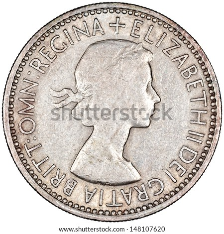 United Kingdom 1 Shilling - Elizabeth 2 Coin Obverse Showing Laureate Bust Isolated