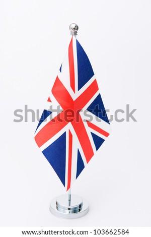 United Kingdom table flag isolated on white - stock photo