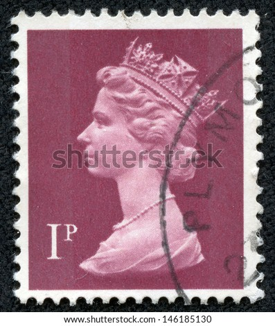 UNITED KINGDOM 1971 to 1996: A used postage stamp printed in Britain showing Portrait of Queen Elizabeth 2nd, printed and issued between 1971 and 1996 - stock photo