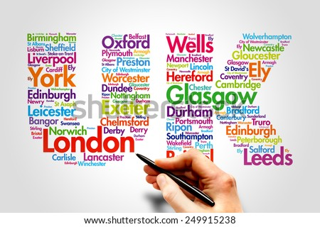 United Kingdom (UK), cities names word cloud travel concept - stock photo