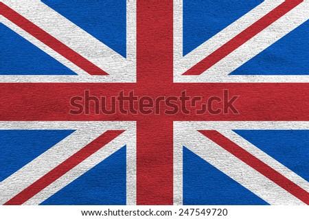 United Kingdom UK flag on the white paper  - stock photo
