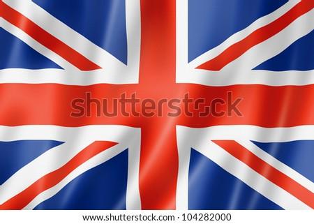 United Kingdom, UK flag, three dimensional render, satin texture - stock photo