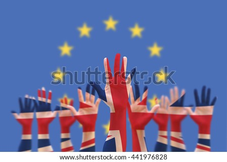 United kingdom UK great Britain flag pattern on person human people crowd group population hands with clipping path on blue EU European Union stars background: UK decision Brexit Bremain concept idea