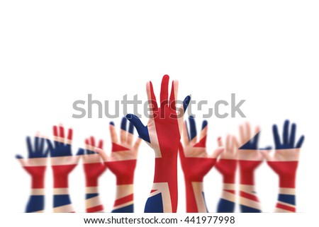 United kingdom UK great Britain flag pattern on person human people crowd group population hands isolate on white background with clipping path: International labour day concept idea - stock photo