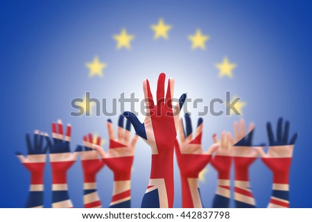 United kingdom UK great Britain flag pattern on person human people crowd group population hands with clipping path on blue EU European Union stars background: UK decision Brexit Bremain concept idea - stock photo