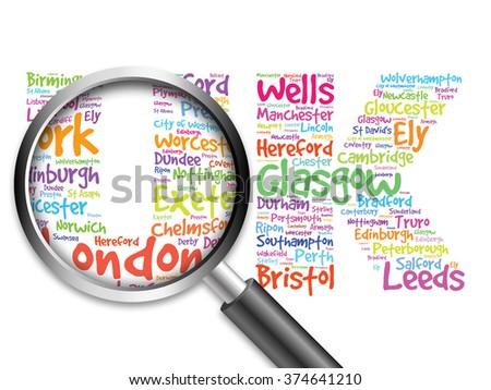 United Kingdom words cloud, cities, travel, agency logotype, word cloud with magnifying glass, travel business concept - stock photo