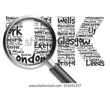 United Kingdom words cloud, cities, travel, agency logotype, word cloud with magnifying glass, travel business concept