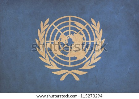 United Nations flag drawing ,grunge and retro flag series - stock photo