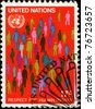 UNITED NATIONS NEW-YORK OFFICE - CIRCA 1970: A stamp printed in United Nations New-York Office honoring Respect to Human Rights, circa 1970 - stock photo