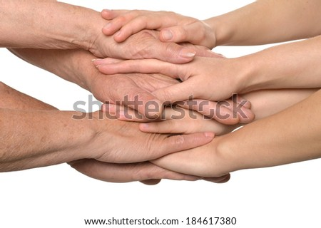 United nice hands on a white background - stock photo