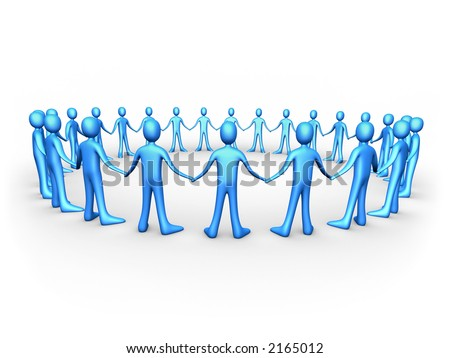 United People - Blue - stock photo