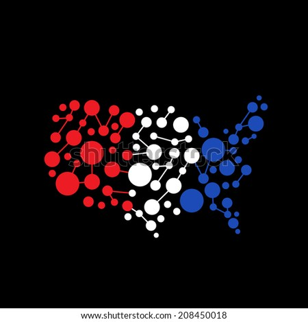 United States Abstract dot line map.  - stock photo