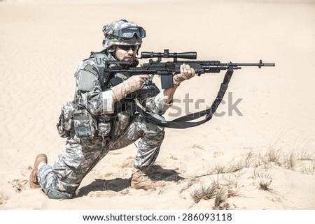 United States airborne infantry marksman in action - stock photo
