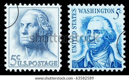 UNITED STATES AMERICA - CIRCA 1970: A pair of postage stamp printed in the USA showing George Washington, circa 1970 - stock photo