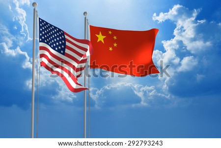 United States and China flags flying together for diplomatic talks
