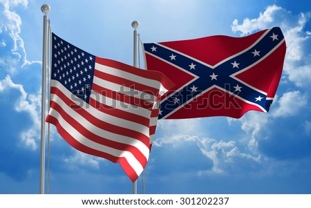 United States and Confederate States flags flying together