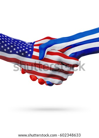 United States and Cuba, countries flags, handshake concept cooperation, partnership, friendship, business deal or sports competition isolated on white
