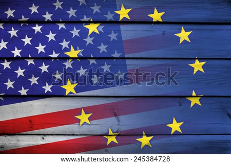 United States and European Union Flag on wood background - stock photo