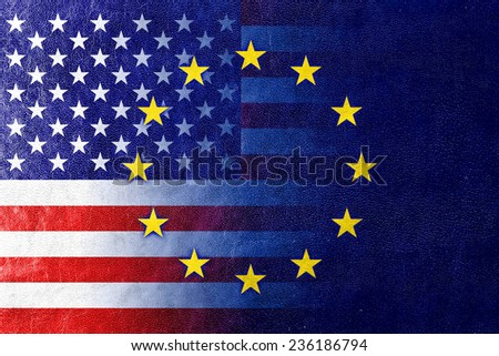 United States and European Union Flag painted on leather texture - stock photo