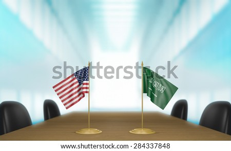 United States and Saudi Arabia relations and trade deal talks - stock photo
