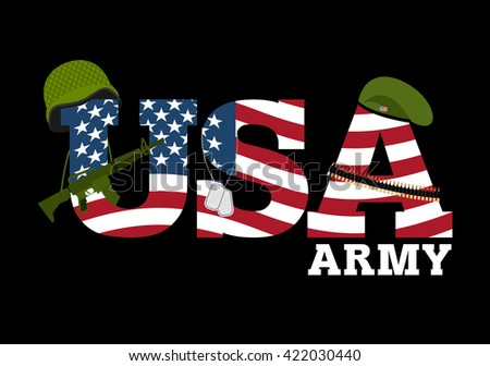 United States Army. Military equipment of America. Logo for American army. Amrik flag. Automatic and rifle. Soldiers beret. Military protective helmet. Cartridge belt and soldiers badge. USA flag - stock photo